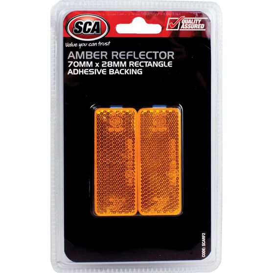 SCA Reflector - Amber, 70 x 28mm, Rectangle, 2 Pack, , scanz_hi-res