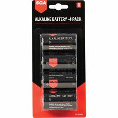 SCA Long Life Alkaline D Batteries - 4 Pack, , scanz_hi-res