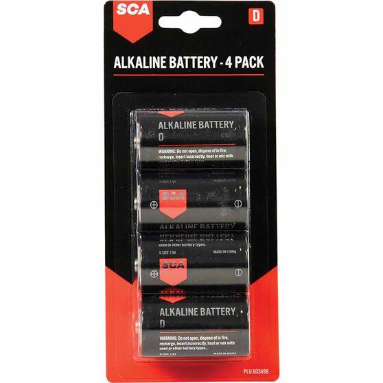 SCA Alkaline D Batteries 4 Pack, , scanz_hi-res