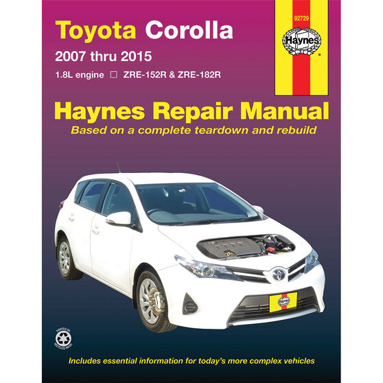 Haynes Car Manual Toyota Corolla, 2007-2015 - 92729, , scanz_hi-res