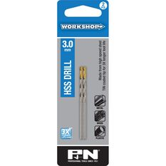 P&N Workshop Drill Bit HSS - Tin Tipped, 3.0mm, 2 Pack, , scanz_hi-res