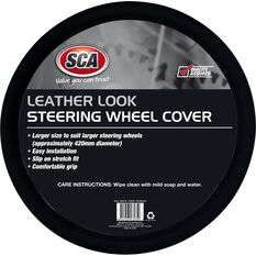 SCA Steering Wheel Cover - Leather Look, Black, 430mm diameter, , scanz_hi-res