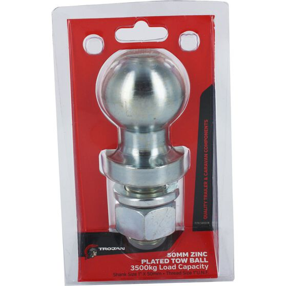 Trojan Tow Ball - Zinc Plated, 3500kg, 50mm x 1 inch, , scanz_hi-res