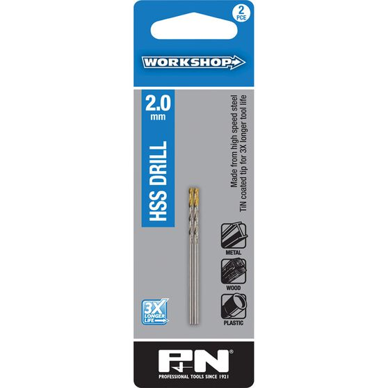 P&N Workshop Drill Bit HSS Tin Tipped 2.0mm 2 Pack, , scanz_hi-res
