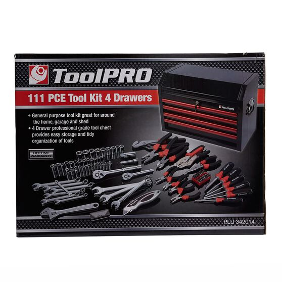 ToolPRO Tool Kit - 26inch, 4 Drawer Chest, 111 Piece, , scanz_hi-res