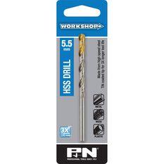P&N Workshop Drill Bit HSS - Tin Tipped, 5.5mm, , scanz_hi-res