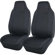 Jacquard Seat Covers - Charcoal, Built-in Headrests, , scanz_hi-res