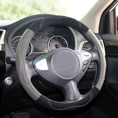 SCA Steering Wheel Cover - Contour Stitch, Grey, 380mm diameter, , scanz_hi-res