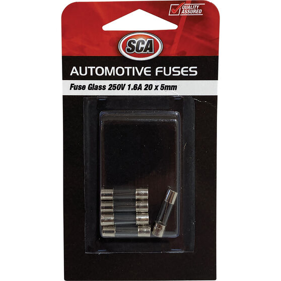 SCA Fuse Glass - GF160-3, 250V, 1.6 AMP, 5pce, , scanz_hi-res