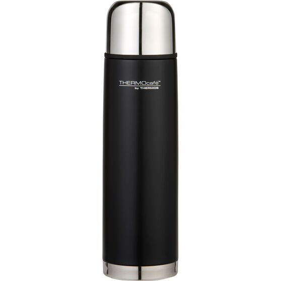 Thermos Thermocafe 1L Slimline Flask - Black, Stainless Steel, , scanz_hi-res