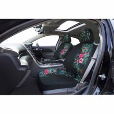 Tropical Seat Covers - Black/Green/Pink, Adjustable Headrests, Size 30, Airbag Compatible, , scanz_hi-res