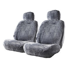 Silver Cloud Sheepskin Seat Covers - Grey Adjustable Headrests Size 30 Front Pair Airbag Compatible Grey, Grey, scanz_hi-res