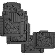 Ridge Ryder Car Floor Mats - Rubber, Black, Set of 4, , scanz_hi-res