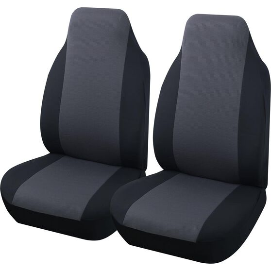 Essentials Honeycomb Seat Covers - Black & Charcoal, Built-in Headrests, Size 60, Front Pair, , scanz_hi-res