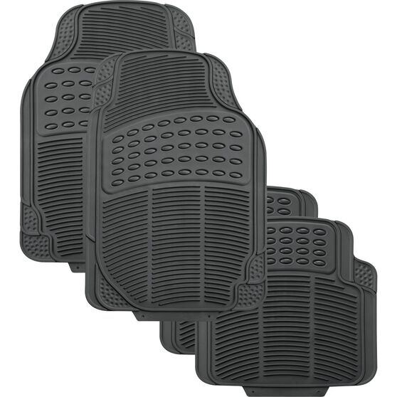 SCA Defend Car Floor Mats - Rubber, Grey, Set of 4, , scanz_hi-res