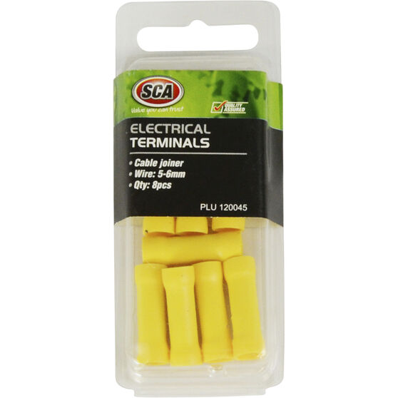 SCA Electrical Terminals - Cable Joiner, Yellow, 8 Pack, , scanz_hi-res