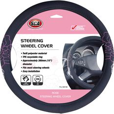 SCA Rose Steering Wheel Cover - Twill Polyester, Black / Pink, 380mm diameter, , scanz_hi-res