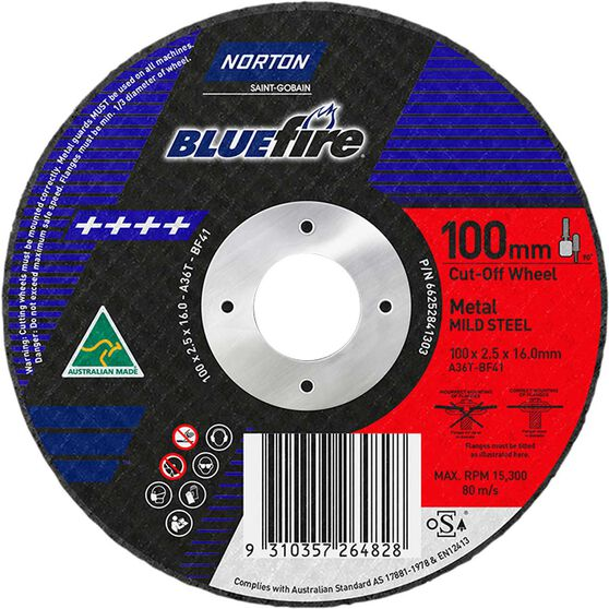 Norton Metal Cut off Disc 100mm x 2.5mm x 16mm, , scanz_hi-res