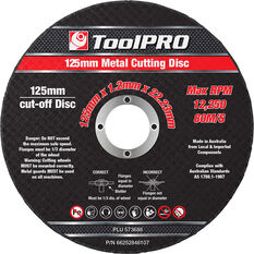 ToolPRO Metal Cut Off Disc 10 Pack - 125x1.0x22.23, , scanz_hi-res