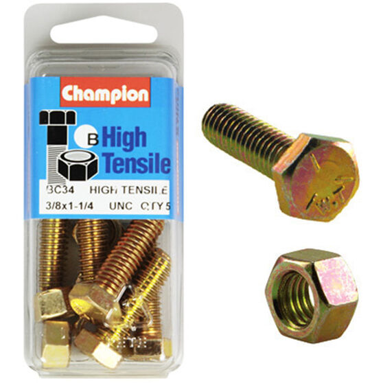 Champion High Tensile Bolts and Nuts - UNC 1-1 / 4inch X 3 / 8inch, , scanz_hi-res