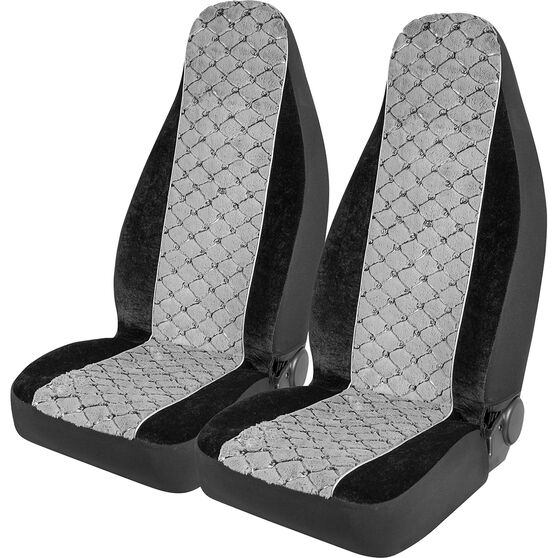 SCA Acrylic Fur Seat Covers - Grey, Built-in Headrests, Size 60, Front Pair, Airbag Compatible, , scanz_hi-res