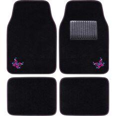 Butterfly Floor Mats - Carpet, Black / Pink / Blue, Set of 4, , scanz_hi-res