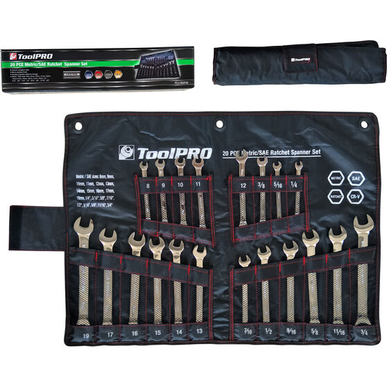 ToolPRO Spanner Set - Ratchet, 20 Piece, Metric and Imperial, , scanz_hi-res