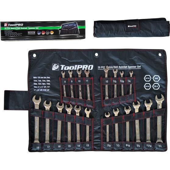 ToolPRO Ratchet Spanner Set Metric/SAE 20 Piece, , scanz_hi-res