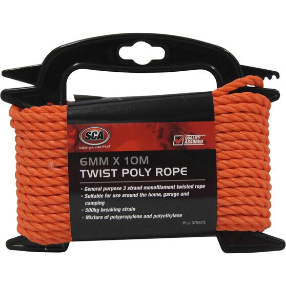 SCA 3 Strand Twist Poly Rope - 6mm X 10m, , scanz_hi-res