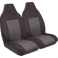 Seat Covers - Black, Front Pair, Built-In Headrests, Size 60, , scanz_hi-res