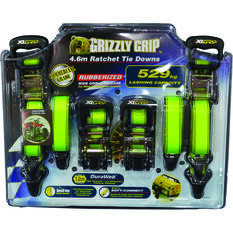 Grizzly Grip Ratchet Tie Down - 4.6m, 529kg, 4 Pack, , scanz_hi-res