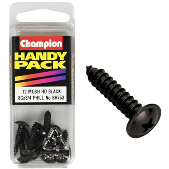 Champion Mush Head Screws - 8G X 3 / 4inch, BH753, Handy Pack, , scanz_hi-res