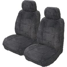 Silver Cloud Sheepskin Seat Covers - Black Adjustable Headrests Size 30 Front Pair Airbag Compatible, Slate, scanz_hi-res