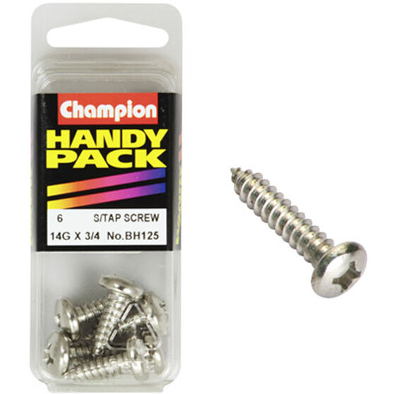 Champion Self Tapping Screws - 14G X 3 / 4inch, Handy Pack, , scanz_hi-res