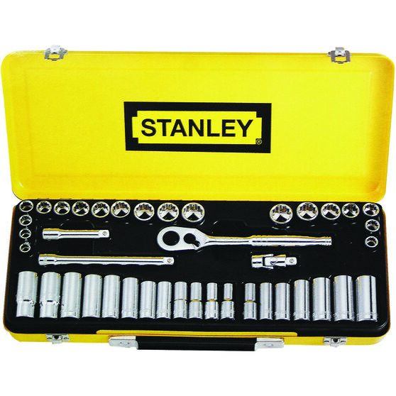 Stanley Socket Set - 3 / 8 inch Drive, Metric / Imperial, 42 Piece, , scanz_hi-res