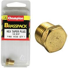 Champion Hex Taper Plug - 1 / 8inch, Brass, , scanz_hi-res