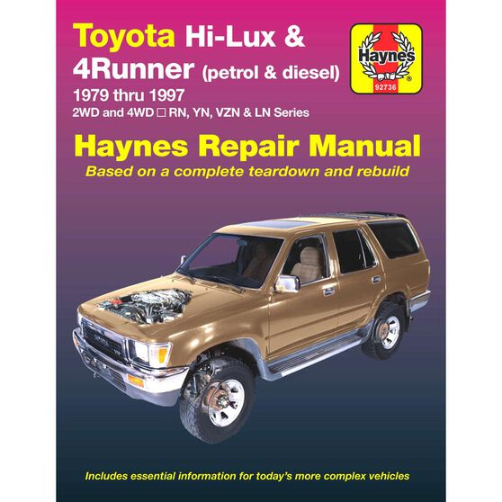 Haynes Car Manual For Toyota Hi-Lux / 4 Runner Petrol and Diesel 1979 / 1997 - 92736, , scanz_hi-res