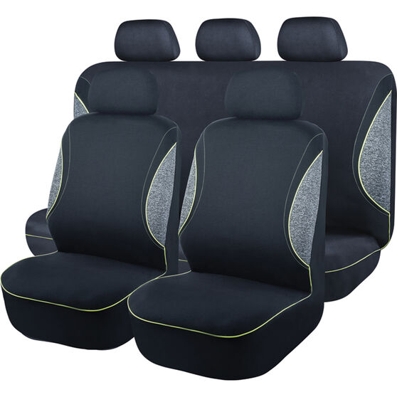 SCA Sports Piping Seat Cover Pack - Black, Grey and Green, Adjustable Headrests, Size 30 Front Pair Airbag Compatible, , scanz_hi-res