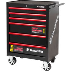 ToolPRO Tool Cabinet, 6 Drawer, Roller Cabinet - Black, 27 inch, , scanz_hi-res