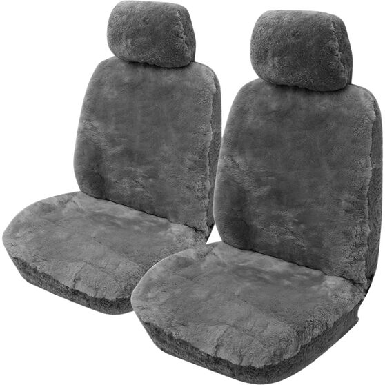 Gold Cloud Sheepskin Seat Covers - Grey, Adjustable Headrests, Size 30, Front Pair, Airbag Compatible Grey, Grey, scanz_hi-res