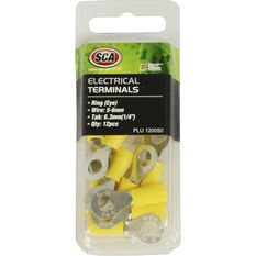 SCA Electrical Terminals - Ring (Eye), Yellow, 6.3mm, 12 Pack, , scanz_hi-res