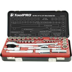 "ToolPRO Socket Set 1/4"" and 1/2"" Drive Metric/SAE 40 Piece, , scanz_hi-res"