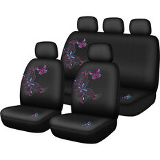Butterfly Butterfly Seat Cover Pack - Pink and Blue, Adjustable Headrests, Size 30 and 06H, Airbag Compatible, , scanz_hi-res