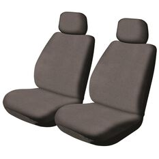 SCA Canvas Car Seat Covers - Adjustable Headrests, Charcoal, Pair, , scanz_hi-res