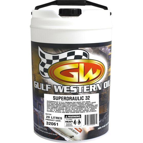 Gulf Western Superdraulic Hydraulic Oil - ISO 32, 20 Litre, , scanz_hi-res