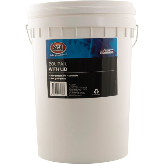 SCA Pail Bucket w /  Lid - White, 20 Litre, , scanz_hi-res