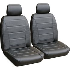 SCA Leather Look Seat Cover - Black and White, Adjustable Headrests, Airbag Compatible, , scanz_hi-res