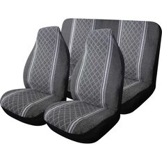 Escort Seat Cover Pack - Grey, Built-in Headrests, Size 60 & 06, Front Pair & Rear, , scanz_hi-res