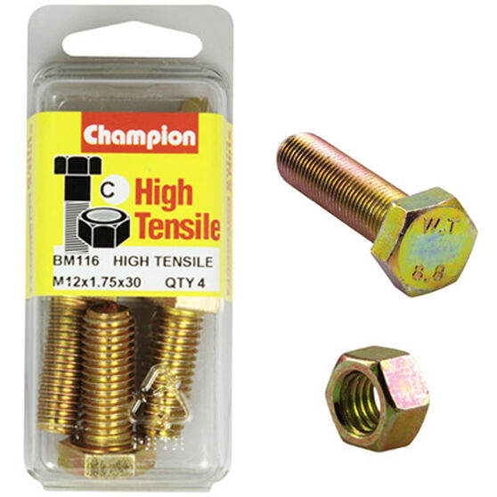 Champion High Tensile Bolts and Nuts - M12 X 30, , scanz_hi-res