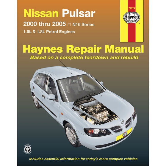 Haynes Car Manual For Nissan Pulsar N16 2000-2005 - 72774, , scanz_hi-res